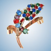 Coro Craft Sterling Rhinestone Flower Pin