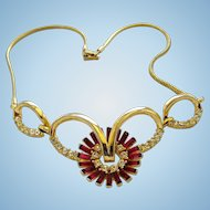 Corocraft Contessa Red Rhinestone Necklace - Book Piece