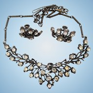 Coro Gun Metal Rhinestone Necklace and Earring Set