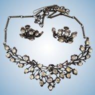 Coro Gun Metal Rhinestone Necklace and Earring Set