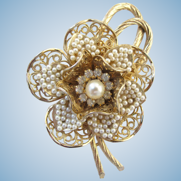3ff8723aef2 Vintage Coro Faux Seed Pearl Flower Brooch - Book Piece : 2Hearts Jewelry &  Accessories | Ruby Lane