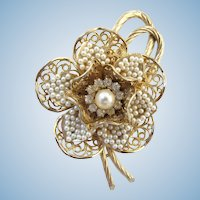 Vintage Coro Faux Seed Pearl Flower Brooch - Book Piece