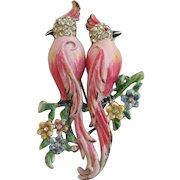 Vintage Coro Pink Colopsitta Bird Duette Brooch - Book Cover Piece