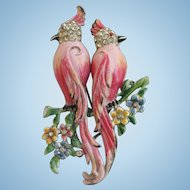 Vintage Coro Pink Colopsitta Bird Duette Brooch - Book Cover Piece