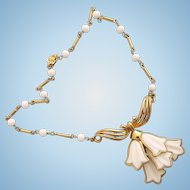 Vintage Corocraft White Tulip Dangles Necklace