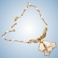 Vintage Corocraft White Tulip Dangles Necklace
