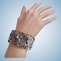 Vintage Rare Coro Sterling Flower Cuff Bracelet
