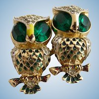 Vintage Coro Green Eyed Owl Duette