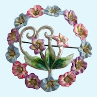Vintage 1942 Coro Enamel Pastel Flower Wreath Brooch