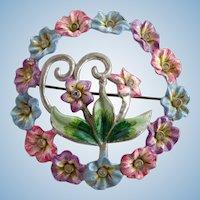 Vintage 1940's Coro Enamel Pastel Flower Wreath Brooch