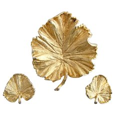 Vintage Coro Gold Tone Leaf Brooch and Earring Set