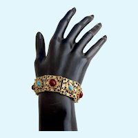 Vintage Coro Red and Turquoise Cabochon Link Bracelet