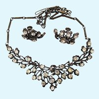 Vintage Coro Gun Metal Rhinestone Necklace and Earring Set