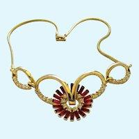 Vintage Corocraft Contessa Red Rhinestone Necklace - Book Piece