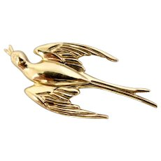 Vintage Coro Gold Plated Swallow Bird Pin
