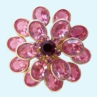 Vintage Coro Pink Crystal Flower Brooch