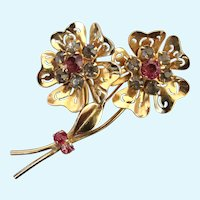 Vintage Coro Double Flower Stem Brooch