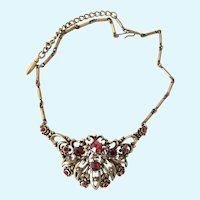 Vintage Coro Antiqued Gold Tone Red Rhinestone Choker Necklace