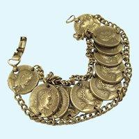 Vintage Corocraft Roman Coin Replica Bracelet