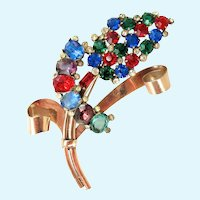 Vintage Coro Craft Sterling Rhinestone Flower Pin