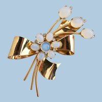 Vintage Coro Sterling Gold Wash Flower Pin / Brooch