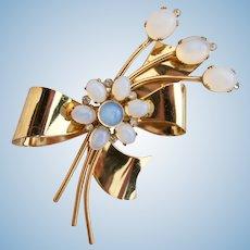 Vintage Coro Sterling Gold Wash Flower Pin / Brooch
