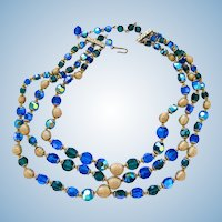 Vintage Three Strand Blue & Green Crystal Bead Necklace