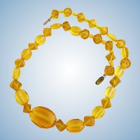 Vintage Czech Yellow Crystal Bead Choker Necklace