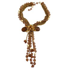 Vintage Unsigned DeMario Ornate Bead Necklace with Tassels