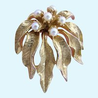 Vintage Robert DeMario Faux Pear and Gold Plated Leaf Brooch