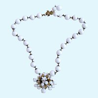 Vintage DeMario NY White Glass Bead Flower Cluster Choker Necklace