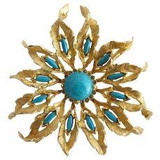 Vintage De Nicola Faux Turquoise Flower Brooch