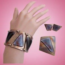 Vintage Kay Denning Fused Glass Copper Bracelet, Brooch and Clip Earring Parure Set