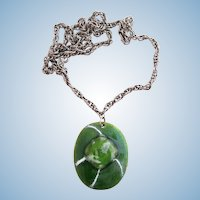 Vintage Kay Denning Green Enamel Fused Glass Pendant