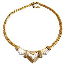 Vintage DIOR Gold Plated White Bar Design Choker Necklace