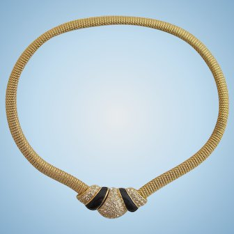 Vintage Christian Dior Gold Plated Mesh Choker Necklace with Rhinestone Center
