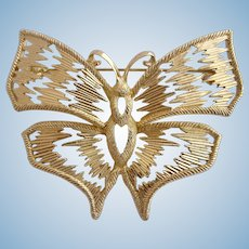 Vintage DIOR Large Gold Plated Butterfly Pin / Brooch