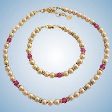 Vintage DIOR Faux Pearl & Crystal Necklace and Bracelet Set