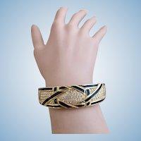 Vintage Christian Dior Rhinestone Black Enamel Clamper Bangle Bracelet