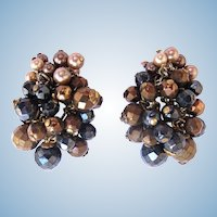 Vintage DeMario Earth Color Beads and Faux Pearl Earrings
