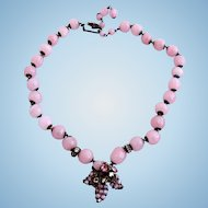 DeMario Pink Opalescent Glass Bead Necklace