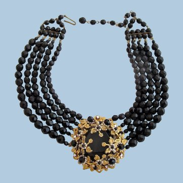 Vintage Haskell Style Ornate Centerpiece Black Bead Choker Necklace