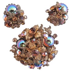 Vintage DeMario Flower and Carnival Cabochon Brooch and Clip Earring Set