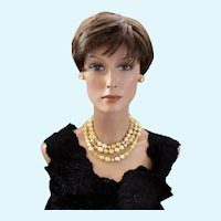Vintage Robert DeMario Faux Yellow Pearl and Crystal Bead Necklace and Clip Earring Set