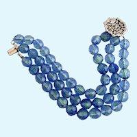 Vintage DeMario Blue Green Crystal Bead Bracelet