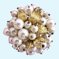 Vintage Robert DeMario Ornate Faux Pearl Brooch