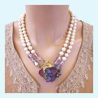 Vintage DeMario Faux Pearl and Purple Flower Cluster Necklace