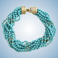 Vintage Donald Stannard Turquoise Colored Bead Torsade Choker Necklace