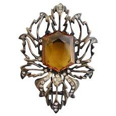 Vintage Eisenberg Sterling Amber Glass Stone Fur Clip