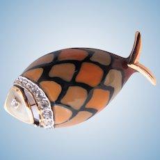 """Vintage Eisenberg """"Artist Series"""" Enamel Fish Brooch"""